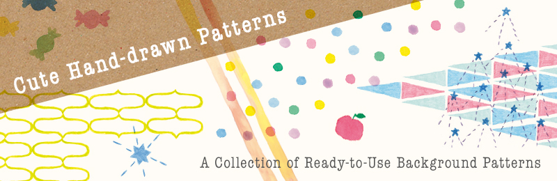 Cute Hand-drawn Patterns: A Collection of Ready-to-Use Background Patterns (with DVD-ROM)