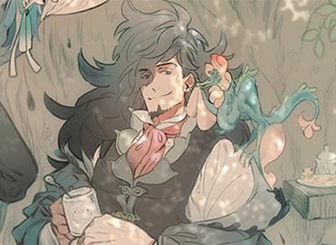 凸凹嘘漫画装画【第9回】「森の大賢蛇…賢者様(半人半蛇)×人間の従者」